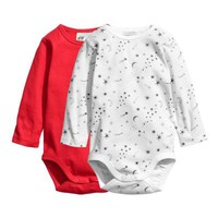 2-pack Long-sleeved Bodysuits - Red - Kids | H&M US