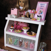 "Bakery Case with Cash Register - Sweet Shop Cafe / Bakery Set for American Girl / 18"" dolls - MAY 2014 SHIPPING ONLY"