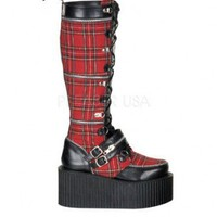Black Red Plaid Creeper Boots @ Amiclubwear Boots Catalog:women's winter boots,leather thigh high boots,black platform knee high boots,over the knee boots,Go Go boots,cowgirl boots,gladiator boots,womens dress boots,skirt boots,pink boots,fashion boots,su