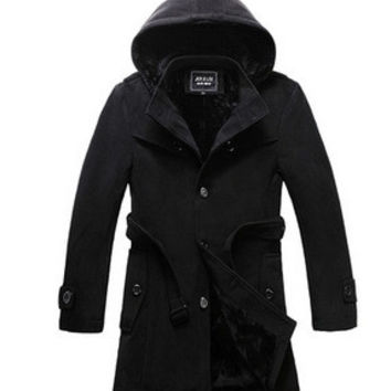 Winter Men Coat England Style Slim Wool Plus Size Thicken Jacket [6528960579]