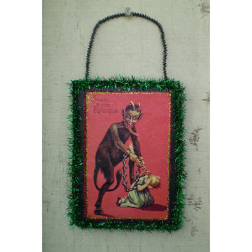 Krampus vintage style Christmas decoration wall hanging ornament holiday home decor