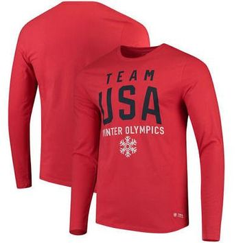 Licensed Sports Team USA Olympics in Mountain Long Sleeve T-Shirt - Red KO_20_2