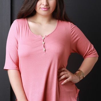 Rib Knit Button Up Henley Top