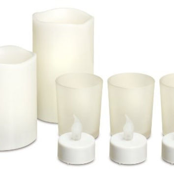 8 Piece Flameless LED Candle Set With 2 Large Real Scented Wax Flameless Candles, 3 LED Tealights and 3 Votives For Tea Lights Mothers Day Gifts, Christmas Candles, Centerpieces, Christmas Gifts, Wedding Decor- Ideas In Life TM