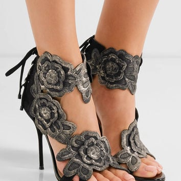 Sophia Webster - Winona embroidered suede sandals