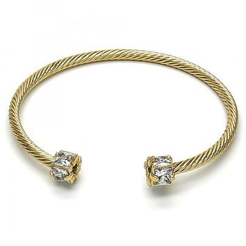 Gold Layered 07.97.0059 Individual Bangle, with White Cubic Zirconia, Diamond Cutting Finish, Golden Tone (03 MM Thickness, One size fits all)