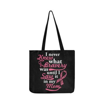 Bravery In My Mom V2 Breast Cancer Awareness Pink Ribbon Reusable/Water Resistant Shopping Bags (8 colors)