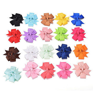 20Pcs Baby  Boutique Big Bow Hair Clips Grosgrain Ribbon Hairpin Headdress 3C