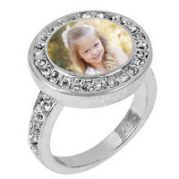 Custom Photo Ring / Photo Jewelry / Statement Ring / Round Rhinestone Picture Ring with Interchangeable Magnetic Photo Charm / Personalized