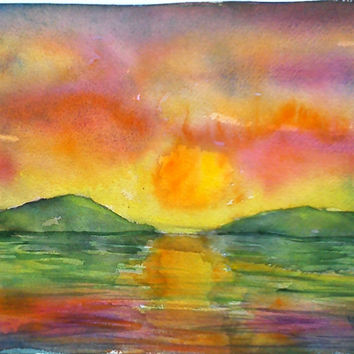 Original watercolor painting, watercolor seascape, abstract