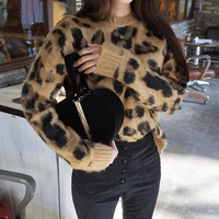 Knitted women pullover sweater female Leopard casual jumper  Plus size long sleeve knit pull femme