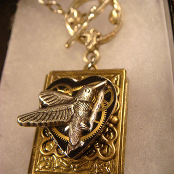 Steampunk Neo Victorian Clockwork Gears and Hummingbird Bird Heart Book LOCKET Necklace- Makes a Great Gift (1748)