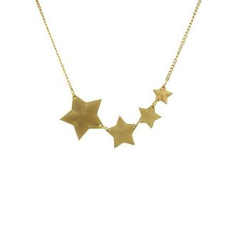 Gold Five-pointed Star Chain Pendants Necklaces