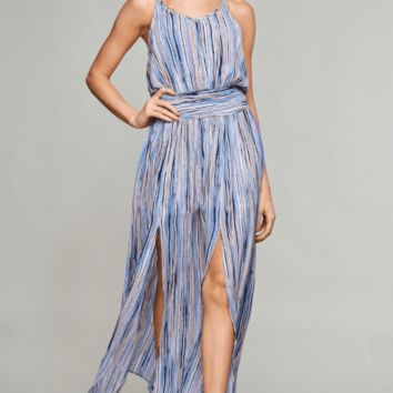 Women's Watercolor Maxi Dress with Smocked Waist