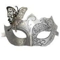 Venetian White and Silver Eye Masquerade Mask with Glitter Accents and a Butterfly