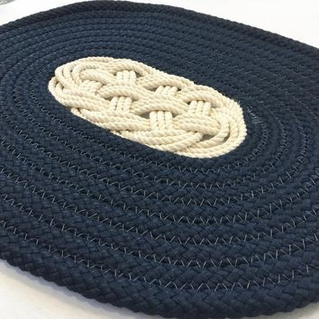 Nautical Ocean Plait Centerpiece, Spiral Rope Mat - Navy