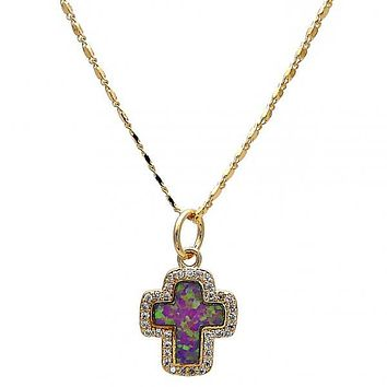 Gold Layered Fancy Necklace, Cross Design, with Opal and Micro Pave, Gold Tone