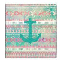 Emerald Nautical Anchor Pastel Watercolor Aztec Binder