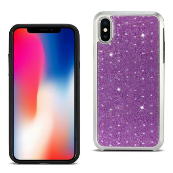 iPhone X Rhinestone TPU Protective Cover In Purple