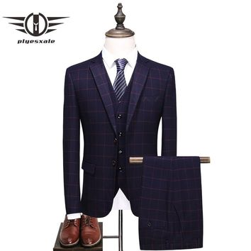 Slim Fit Wedding Suits For Men Navy Blue Purple Red Plaid Suit Men Latest Fashion Formal Jacket Pants Vest