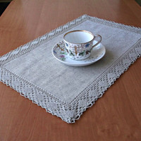 Grey linen placemat for table with lace trim Natural fabric centerpiece