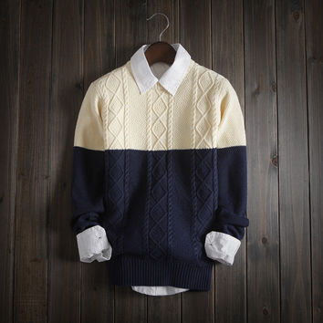 Mens Warm Slim Fit Knitwear Color Matching Sweater