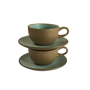 Heath Teacup Set, Blue and Brown, Vintage Pottery, Coffee Cups, Retro Dining, MCM Home Decor, Mid Century Design