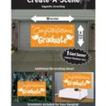 graduation greeting giant banner - orange Case of 12