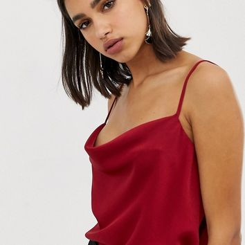 River island cami top with cowl neck in red at asos.com