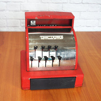 Tom Thumb Toy Cash Register Red, Vintage Metal Cash Register Toy | Kids Room Decor