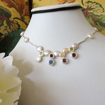 Silver bead necklace with CZ and coin pearls, women necklaces silver, Silver necklace, Teen necklaces