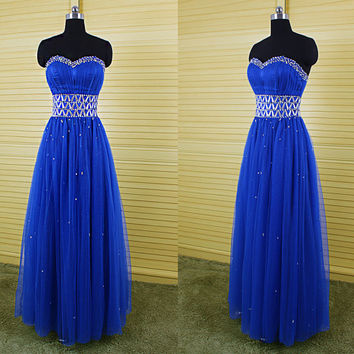 Royal blue sweetheart empire A-line beaded long prom dresses ,tulle floor length ball gown silver rhinestones,gorgeous formal dress DP025