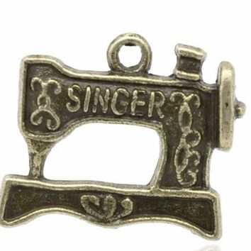 Singer sewing machine antique bronze 20X15mm charm
