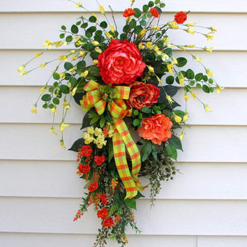 Fall wreath swag, fall door swags, Fall swag for front door, teardrop swag, door swag Fall, Autumn swags, peony wreath, vertical swag