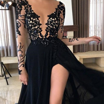Black Applique Long Sleeve Prom Dresses