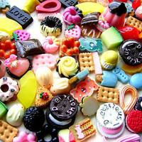 WHOLESALE 100 Resin Cabochons SWEETS Mix Set 1Kawaii by DecoSweets