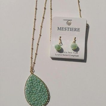 Mint Magic Pendant Necklace and Earrings Set