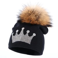 0-3 year old baby casual winter hat children crown beanies real mink pompom lovely boy girl skullies solid cotton warmer hats
