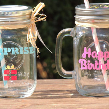 Birthday Mason mugs, party mason jars, mason mugs