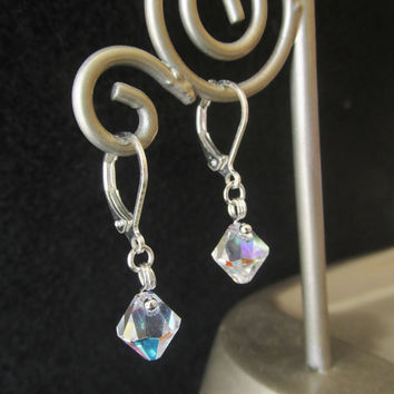 Geniune Swarovski Crystal Earrings - Beaded Bicone Crystal Earrings - Faceted Clear Crystal Leverback Earrings - Handmade Gifts for Her