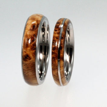 Titanium Ring Set with Black Ash Burl Wood Inlay - Wooden Wedding bands, Ring Armor Included
