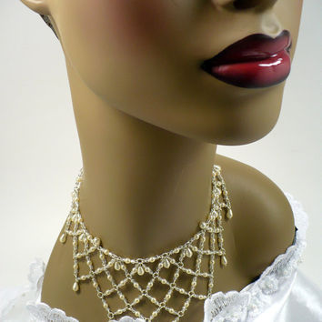 CIJ SALE Vintage White Pearl & Crystal Bib Necklace, Bridal Necklace, Silver Pearl Choker, Cleopatra Victorian Revival