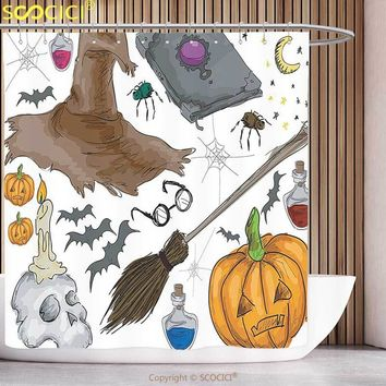 Polyester Shower Curtain Halloween Decorations Collection Magic Spells Theme Witch Craft Objects Doodle Style Grunge Design