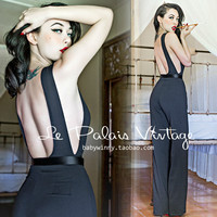 FREE SHIPPING Le Palais Vintage elegant and sexy black side exposed slim Halter Jumpsuit