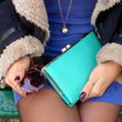 XMAS SALE - Leather Clutch Wallet - Mint Green - Free Shipping - Gift For Her - Black Friday Cyber Monday