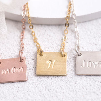 Hand Stamped Square Necklace Personalized Square Necklace Birthdate Name Initial Roman Numeral Gift for Her Sterling Silver LUVINMARK LVMKH8