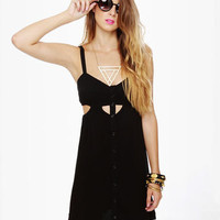 Cute Black Dress - Cutout Dress - Little Black Dress - $38.00