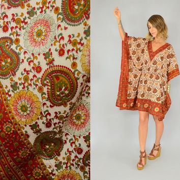 Vtg 70s PAISLEY + FLORAL gypsy bohemian ethnic hippie DASHIKI tunic mini dress, one size fits most