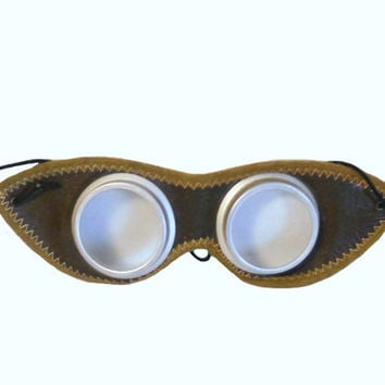 Vintage Goggles Aviator or Motorcycle Protective Eyewear 1940s Chocolate Brown Leather and Trimmed in Suede - Vintage Steampunk