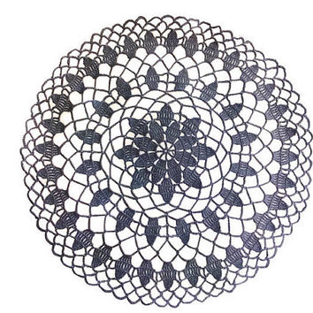 Simple Black Round Crochet Doily 11 inches, Country Style Home Decor
